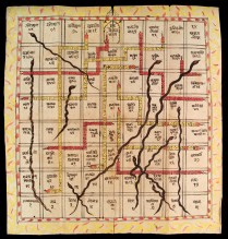 L0035004 Snakes and Ladders (Game of Heaven & Hell) Credit: Wellcome Library, London. Wellcome Images images@wellcome.ac.uk http://wellcomeimages.org Game of Heaven and Hell (Jnana Bagi). This old Indian game, known to us as 'Snakes and Ladders', was originally a vehicle for teaching ethics. Each square has not only a number but a legend which comprises the names of various virtues and vices. The longest ladder reaches from square 17 'Compassionate Love' to 69 'The World of the Absolute' Late 18th Century Published: - Copyrighted work available under Creative Commons Attribution only licence CC BY 4.0 http://creativecommons.org/licenses/by/4.0/
